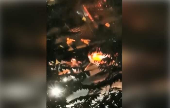 VIDEO Polițist făcut K.O. de un recidivist băut. Scandalul a avut loc în București