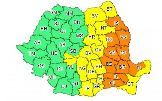 HARTĂ: Prahova rămâne sub avertizare meteo. Sunt vizate alte 24 de județe 1